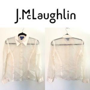 J. McLaughlin Cream 100% Silk Sheer Organza Blouse